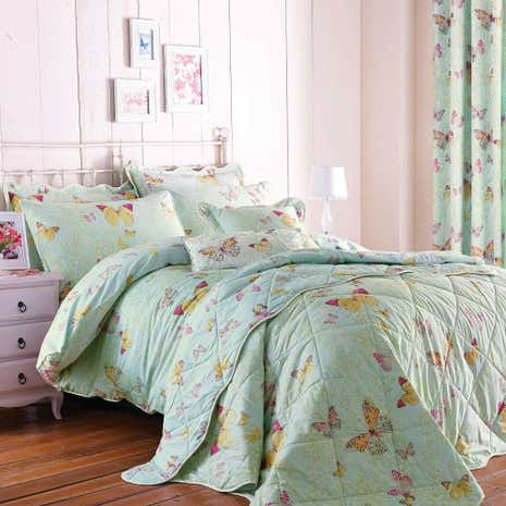 Botanica Butterfly Eau de Nil Duvet Cover and Pillowcase Set