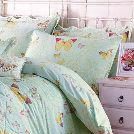 Botanica Butterfly Eau de Nil Housewife Pillowcase