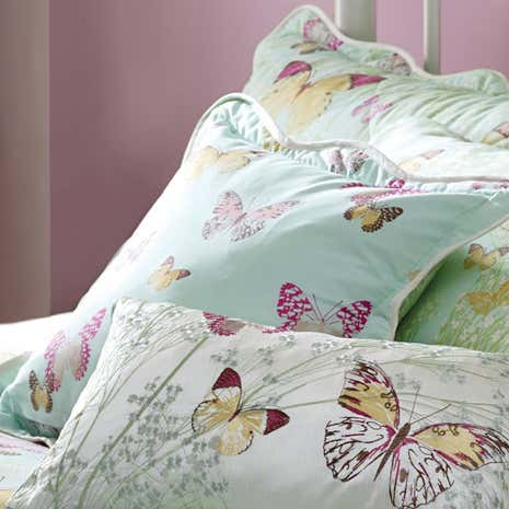 Botanica Butterfly Eau de Nil Square Cushion