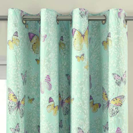 Botanica Butterfly Eau de Nil Thermal Eyelet Curtains