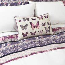 Mauve Flora Patchwork Boudoir Cushion