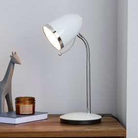 White Desk Lamp with Chrome Ring
