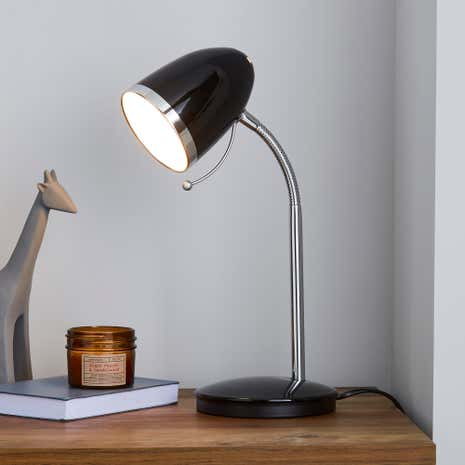 Black Desk Lamp with Chrome Ring