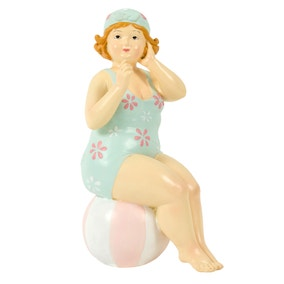 Candy Rose Lady Sitting On A Ball Statue