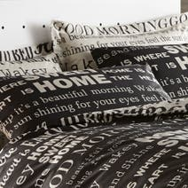 Black Good Morning Housewife Pillowcase