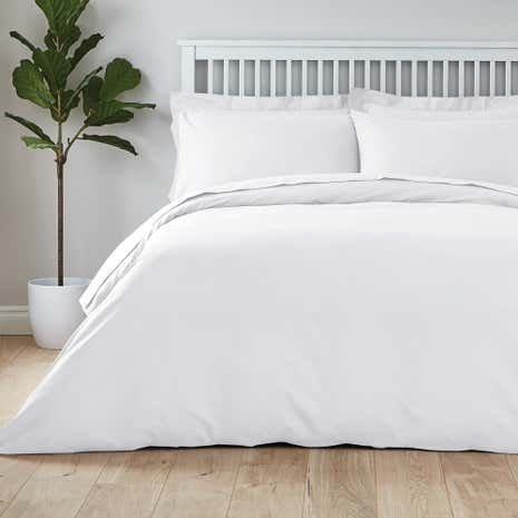 easycare plain dye 100 cotton white duvet cover dunelm. Black Bedroom Furniture Sets. Home Design Ideas