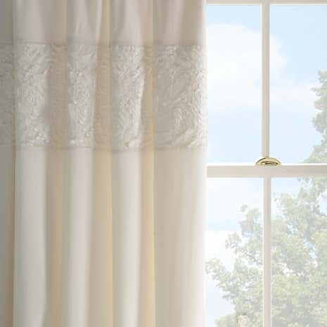 Chloe Rose Cream Thermal Pencil Pleat Curtains