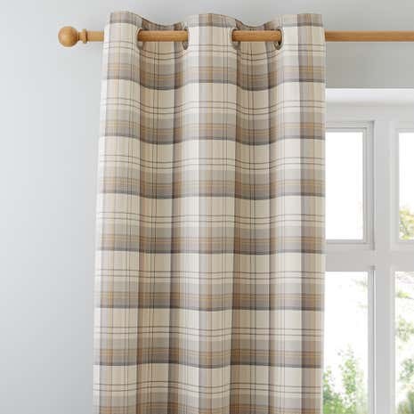 Balmoral Ochre Lined Eyelet Curtains