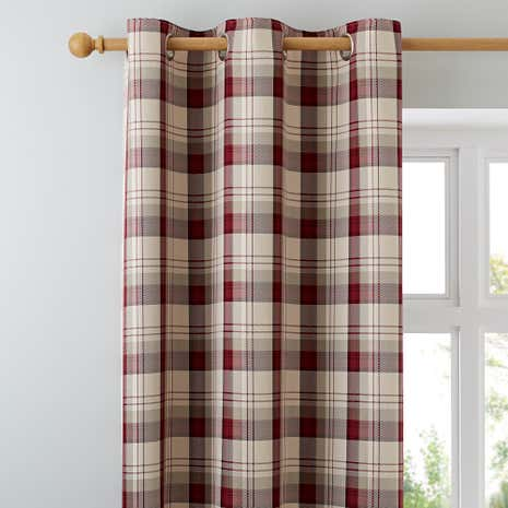 Balmoral Red Lined Eyelet Curtains