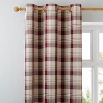 Red Balmoral Lined Eyelet Curtains