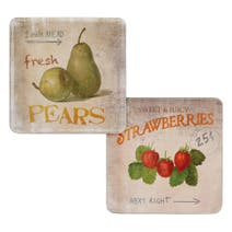 Pack of 4 Retro Fruit Coasters