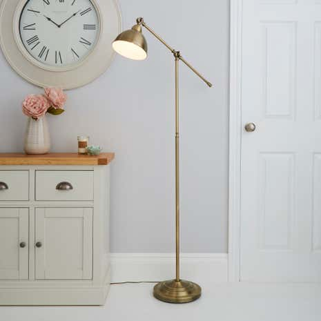 Antique Brass Lever Arm Floor Lamp Dunelm