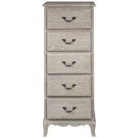 Annabelle Grey Oak 5 Drawer Tallboy