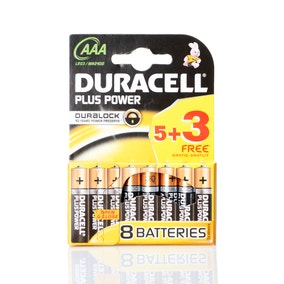 Duracell Plus Power Pack of 5 AAA Batteries with 3 Free