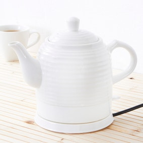 Vintage Ripple White Ceramic Kettle