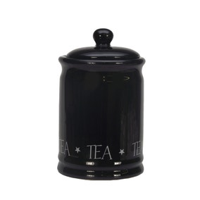 Vintage Black Text Tea Canister