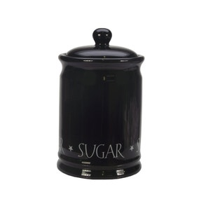 Vintage Black Text Sugar Canister