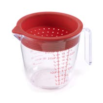 Measuring Jug with Red Silicone Strainer