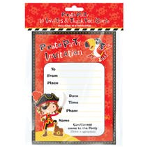 Pack of 10 Pirate Party Invitations