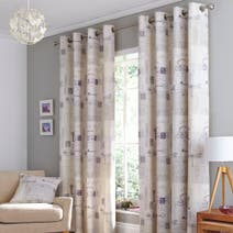 Mauve Felicity Lined Eyelet Curtains