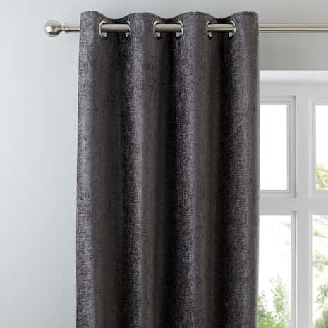Chenille Grey Lined Eyelet Curtains