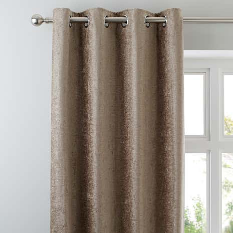 Chenille Taupe Lined Eyelet Curtains