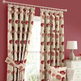 Poppy Chenille Red Pencil Pleat Curtains