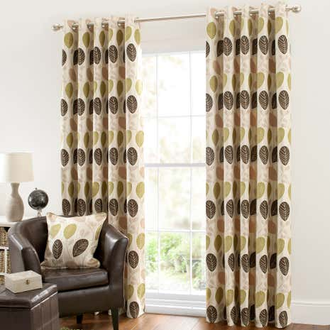 Turin Green Lined Eyelet Curtains