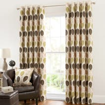 Green Turin Lined Eyelet Curtains