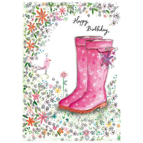 Daisy Patch Wellies Birthday Card