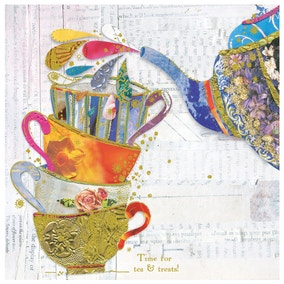 Teapot And Cups Birthday Card