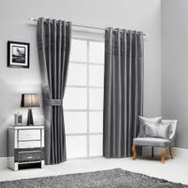 Hotel Pintuck Lined Eyelet Curtains