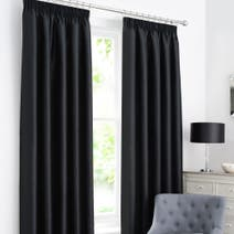 Black Dakota Lined Pencil Pleat Curtains