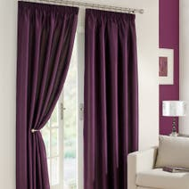Plum Dakota Lined Pencil Pleat Curtains