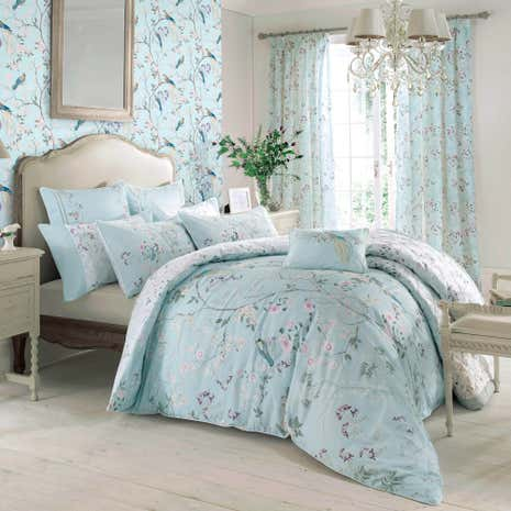 Dorma Maiya Emboridered 100 Cotton Duck Egg Duvet Cover
