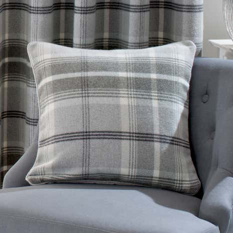 Highland Dove Grey Check Cushion