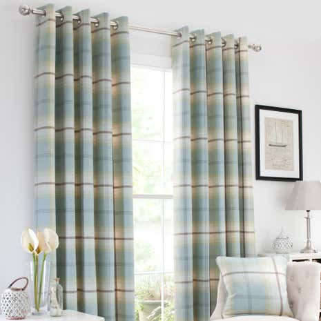 Highland Check Duck-Egg Lined Eyelet Curtains | Dunelm