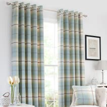 Duck Egg Highland Check Lined Eyelet Curtains