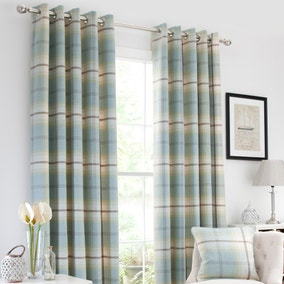 Highland Check Duck-Egg Lined Eyelet Curtains