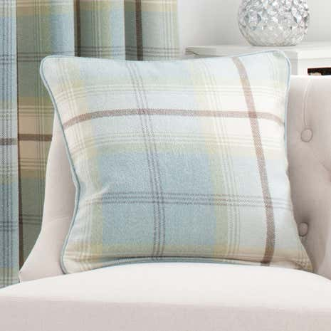 Highland Duck-Egg Check Cushion