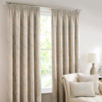 Duck Egg Blue Songbird Lined Pencil Pleat Curtains