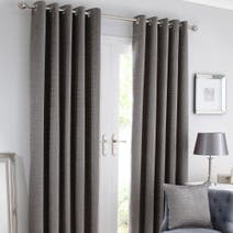 Silver Brisbane Lined Eyelet Curtains