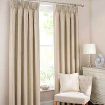 Natural Monaco Pencil Pleat Lined Curtains