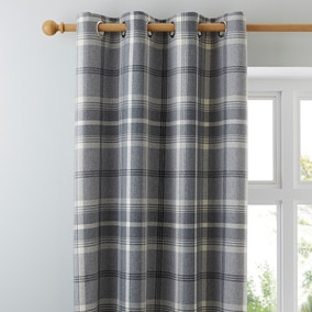 Highland Check Dove Grey Lined Eyelet Curtains