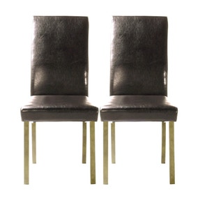 Hunston Brown Faux Leather Pair of Dining Chairs