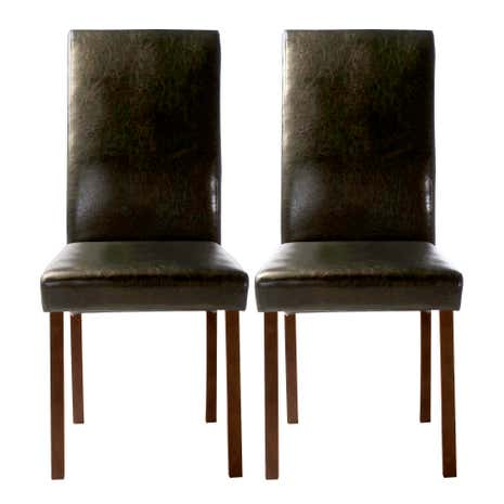 Hunston black faux leather pair of dining chairs dunelm for Black leather dining chairs