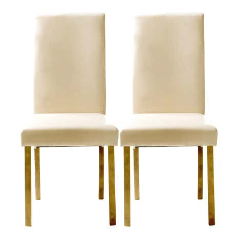 Hunston Cream Faux Leather Pair of Dining Chairs
