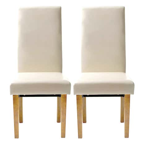 Hunston Cream Faux Leather Pair of Extra Large Dining Chairs