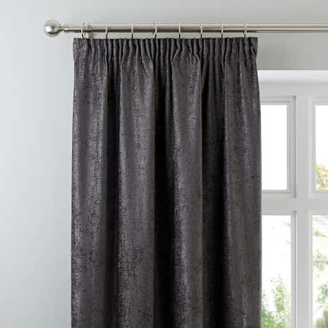 chenille grey lined pencil pleat curtains dunelm. Black Bedroom Furniture Sets. Home Design Ideas