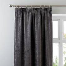Grey Chenille Lined Pencil Pleat Curtains